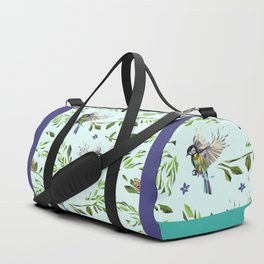 Geometric Nature with Birds Pattern (blue tit and goldcrest) Duffle Bag