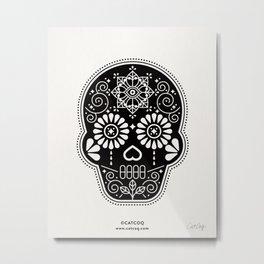 Día de Muertos Calavera • Mexican Sugar Skull – Black Palette Metal Print