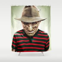 freddy krueger Shower Curtains featuring FREDDY by NOXBIL