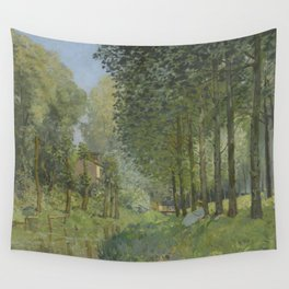 Alfred Sisley - Rest along the Stream. Edge of the Wood, 1878 Wall Tapestry