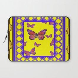 Coffee Brown Monarch Butterflies Yellow-Purple Art Laptop Sleeve