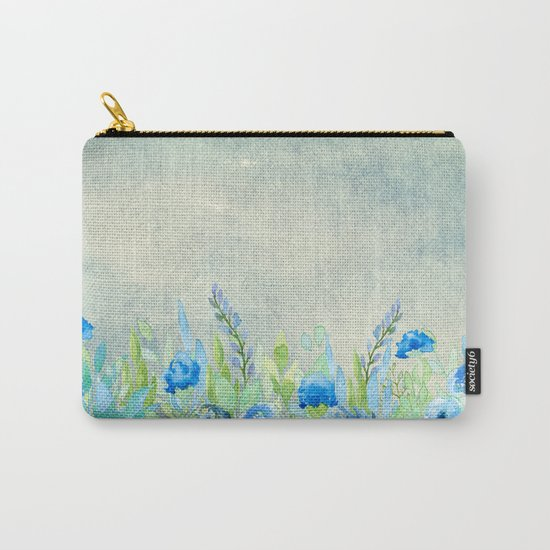 Blue flowers and roses in a meadow- Floral watercolor illustration Carry-All Pouch