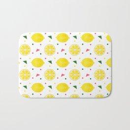 Sunshine yellow watercolor tropical lemon triangles dots pattern Bath Mat
