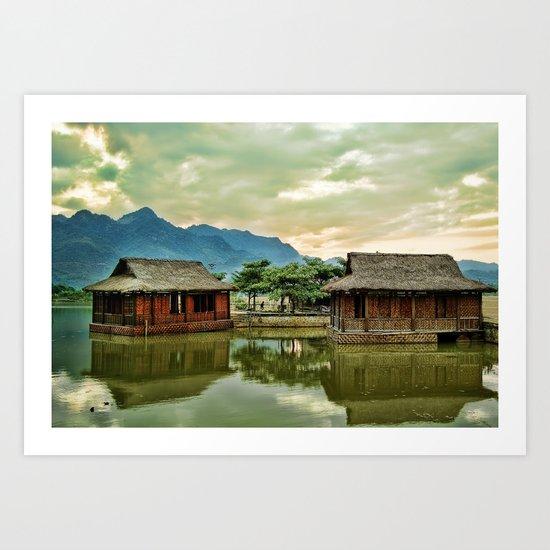 Water Huts Art Print