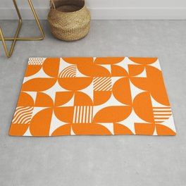 Orange Mid Century Bauhaus Semi Circle Pattern Rug
