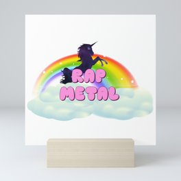 Rap Metal Rainbow Unicorn in Space Mini Art Print
