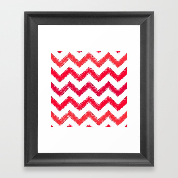 Red Chalk Chevron Framed Art Print