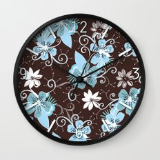 Summer blossom, brown and blue pattern Wall Clock
