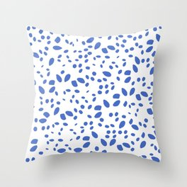 blue bright dots design, brush stroke illustration, simple, abstract and modern yet organic shape Throw Pillow