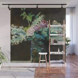 """Édouard Manet """"Vase of White Lilacs and Roses"""" Wall Mural"""