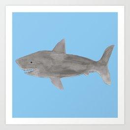 Shark, Blue Art Print
