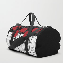 Retro. Red poppies on white background sulfur. Applique. Duffle Bag