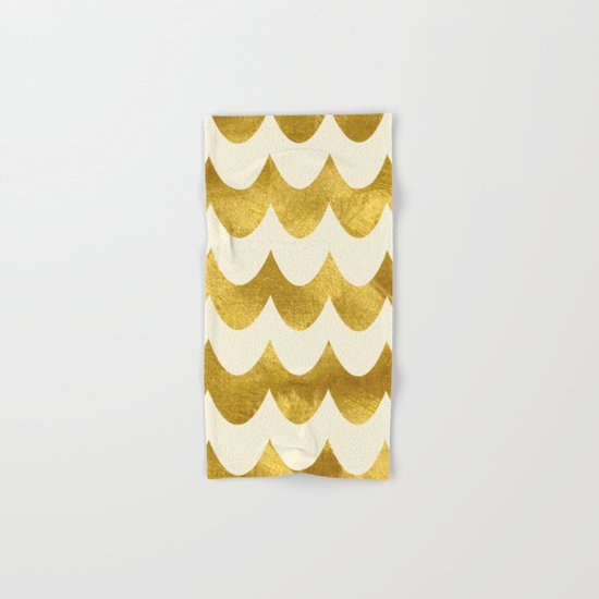 Cream Gold Foil 04 Hand & Bath Towel