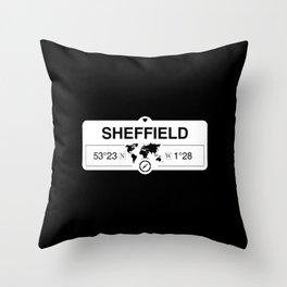 Sheffield England GPS Coordinates Map Artwork with Compass Throw Pillow
