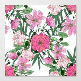 Boho chic garden floral design Canvas Print