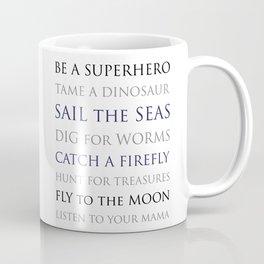 BE A SUPERHERO, black, white, gray, navy palette Coffee Mug