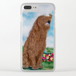 Chocolate Labradoodle and Butterfly Clear iPhone Case