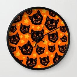 Stars and Cats Wall Clock