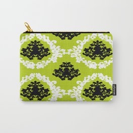 Victorian Damask Green White Black Carry-All Pouch