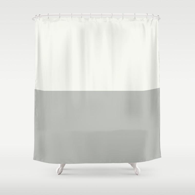 Benjamin Moore 2019 Color Of Year Metropolitan And Snowfall White Bold Horizontal Stripes Shower Curtain