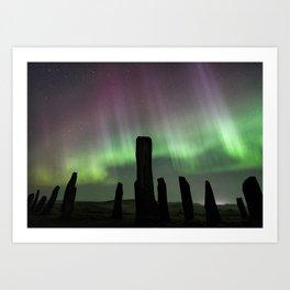 Callanish and aurora Art Print