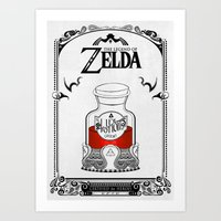 legend of zelda Art Prints featuring Zelda legend - Red potion  by Art & Be
