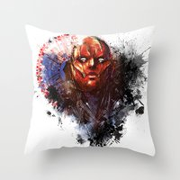red hood Throw Pillows featuring Red Hood by Vincent Vernacatola