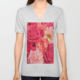 Romantic Pink Flowers Unisex V-Neck