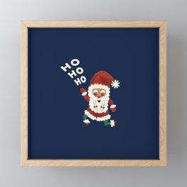 "Christmas ""HOHOHO"" Slogan Santa Claus - Navy Blue Framed Mini Art Print"