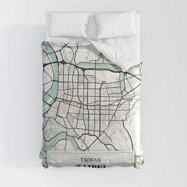Taipei Taiwan City Map with GPS Coordinates Comforters