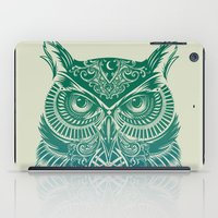 owls iPad Cases featuring Warrior Owl by Rachel Caldwell