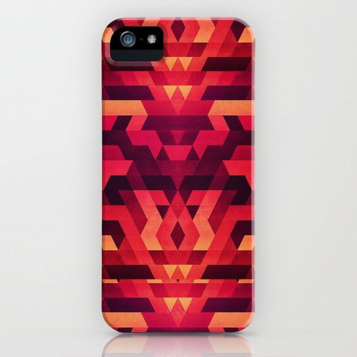 Abstract red geometric triangle texture pattern design (Digital Futrure - Hipster / Fashion) iPhone Case