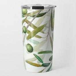 Green Olive watercolor painting Travel Mug