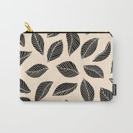 Falling Leaves in black and ivory Carry-All Pouch