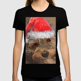 Penny the Yorkipoo with Santa Hat T-shirt