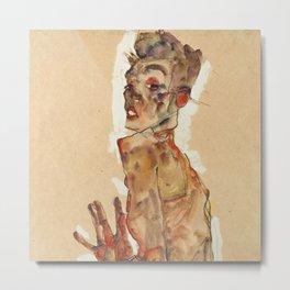 "Egon Schiele ""Self-Portrait with Splayed Fingers"" Metal Print"