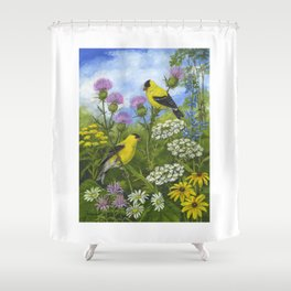 Goldfinches and Thistle Shower Curtain