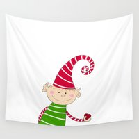 elf Wall Tapestries featuring Christmas Elf  by Designs By Misty Blue (Misty Lemons)