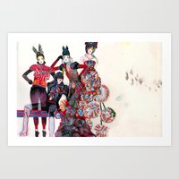 girls Art Prints featuring Girls by Felicia Cirstea