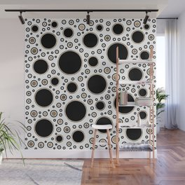 Polka Dot Chaos - White, Black and Gold Wall Mural