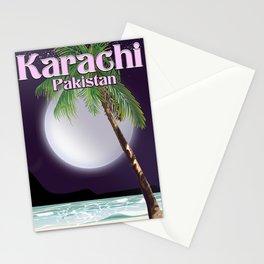 Karachi Pakistan beach poster. Stationery Cards