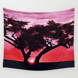 Cherry Blossom Sunset Wall Tapestry