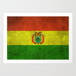 Old and Worn Distressed Vintage Flag of Bolivia Art Print