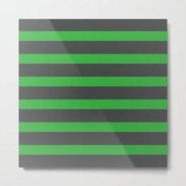Green Stripes on Gray Background Metal Print