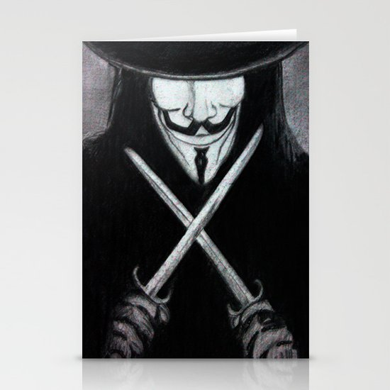 V for Vendetta  (by Esin )5 Stationery Cards