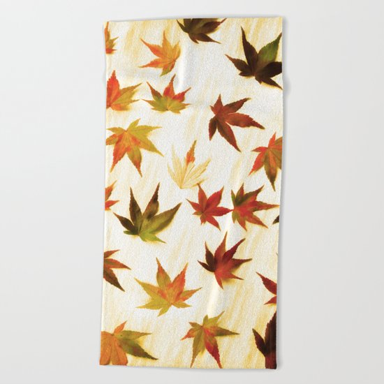 AUTUMN LEAVES PATTERN #3 #decor #art #society6 Beach Towel