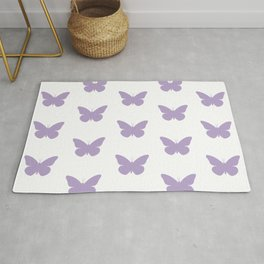 Lavender Butterfly Pattern and Print Rug