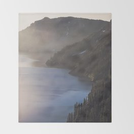 First Light at the Lake - Nature Photography Throw Blanket
