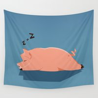 pig Wall Tapestries featuring Pig by C.t. Chain