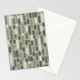 Morningside Heights Midcentury Modern Pattern in Gray, Almond, and Sage Green  Stationery Cards